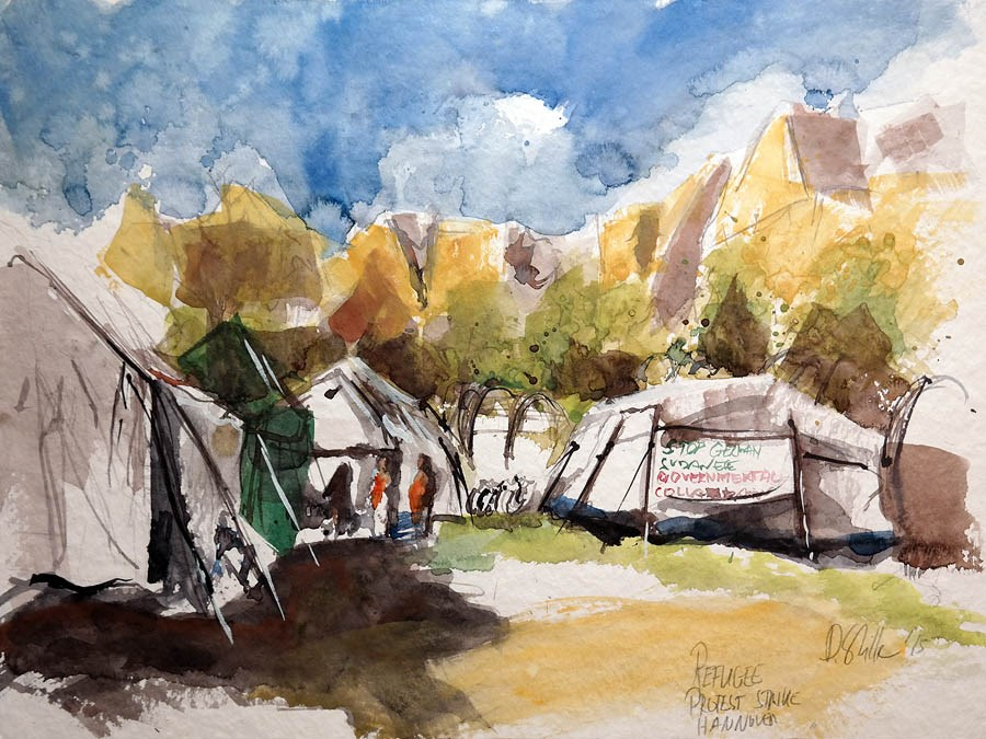 """1338 Sudanese Camp"" original fine art by Dietmar Stiller"