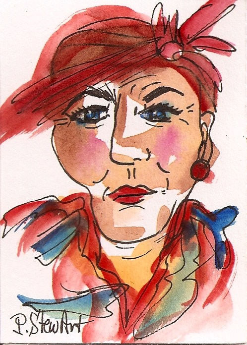 """ACEO:  Stylish Woman with red hat and attitude, watercolor & Pen, Original"" original fine art by Penny Lee StewArt"