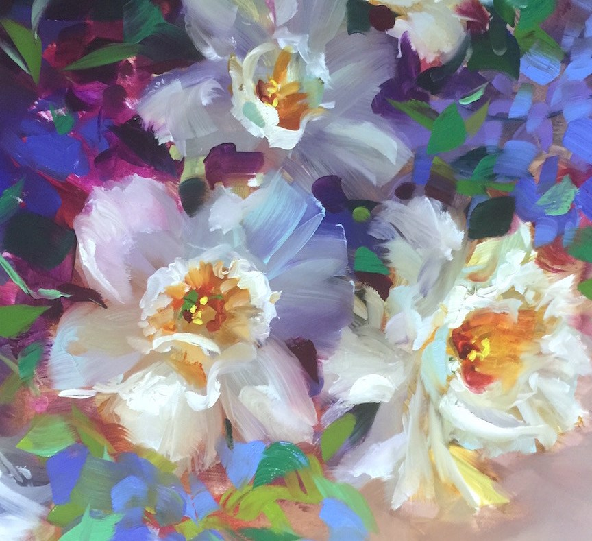 """Daffodils and Brilliant Colors Unveiled"" original fine art by Nancy Medina"