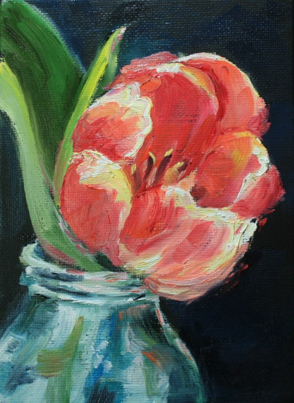 """""""Tulip in Bottle"""" original fine art by Jean Nelson"""