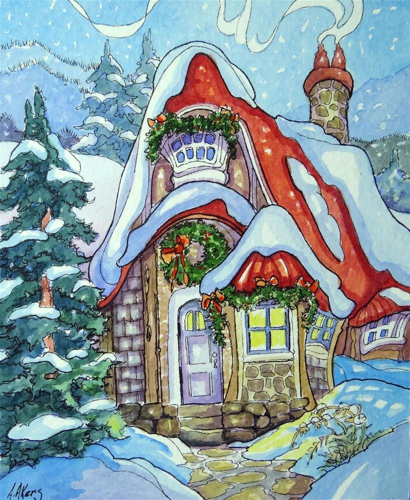 """""""After the Hanging of the Green Storybook Cottage Series"""" original fine art by Alida Akers"""