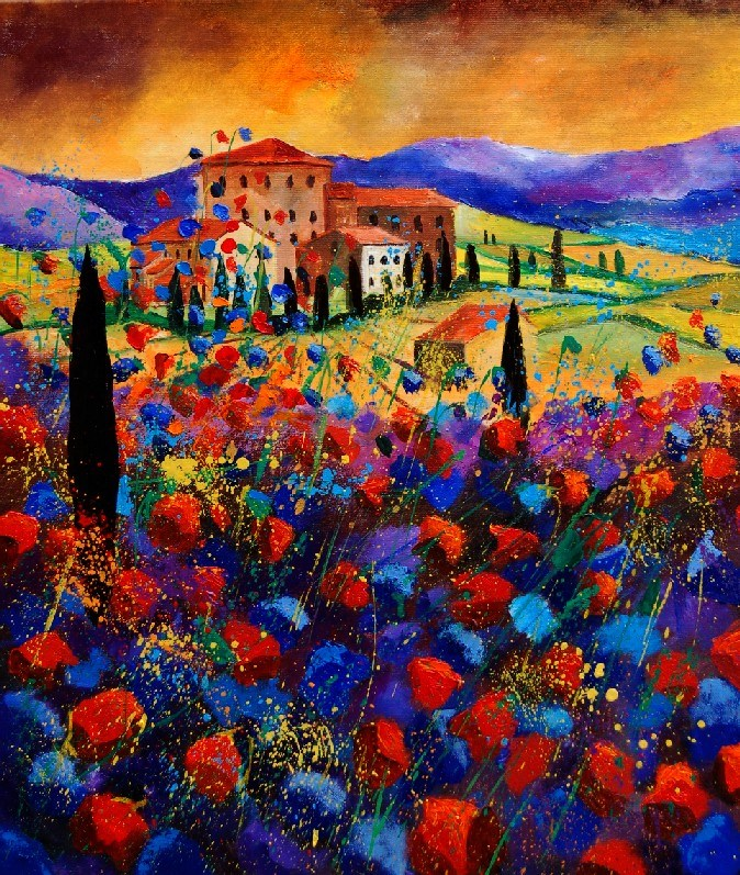 """tuscan poppies"" original fine art by Pol Ledent"