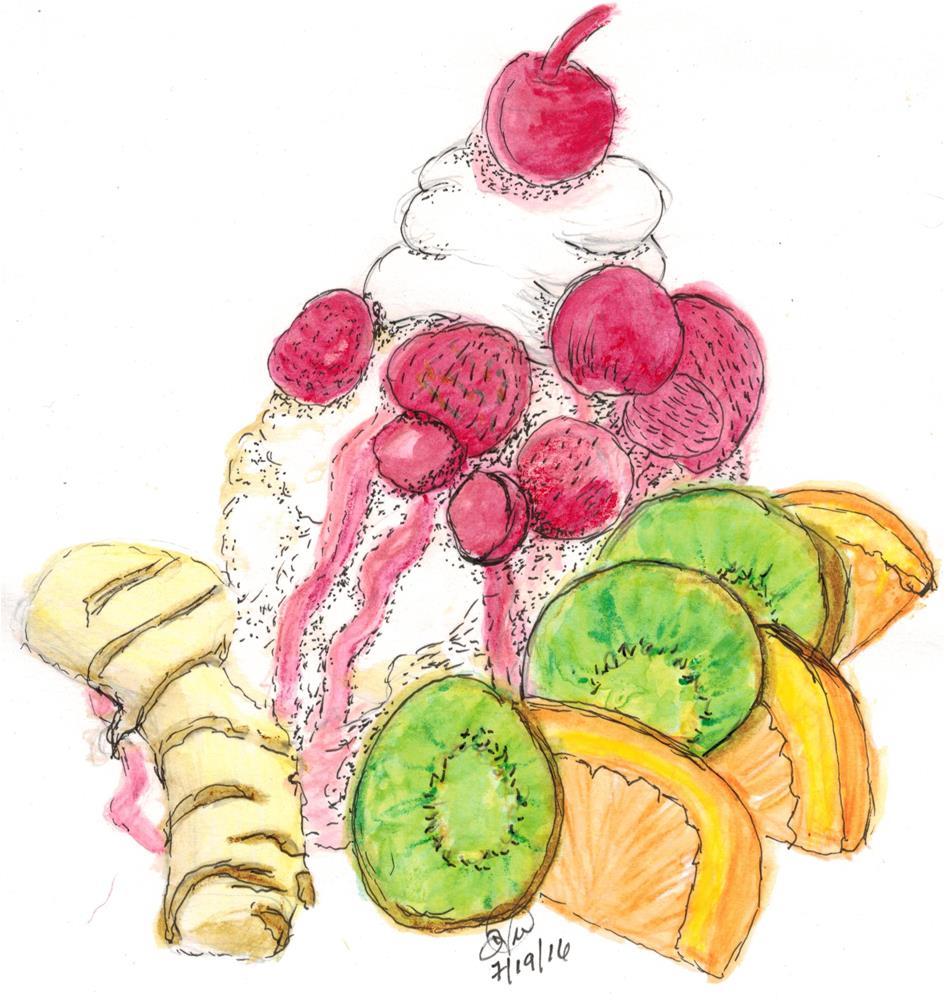 """Tropical Fruit Split"" original fine art by Donna Vieth"