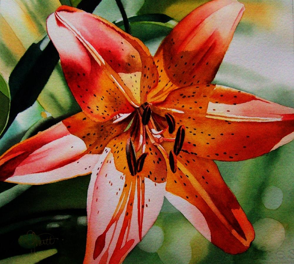 """Yellow & Red Oriental Lily"" original fine art by Jacqueline Gnott, whs"