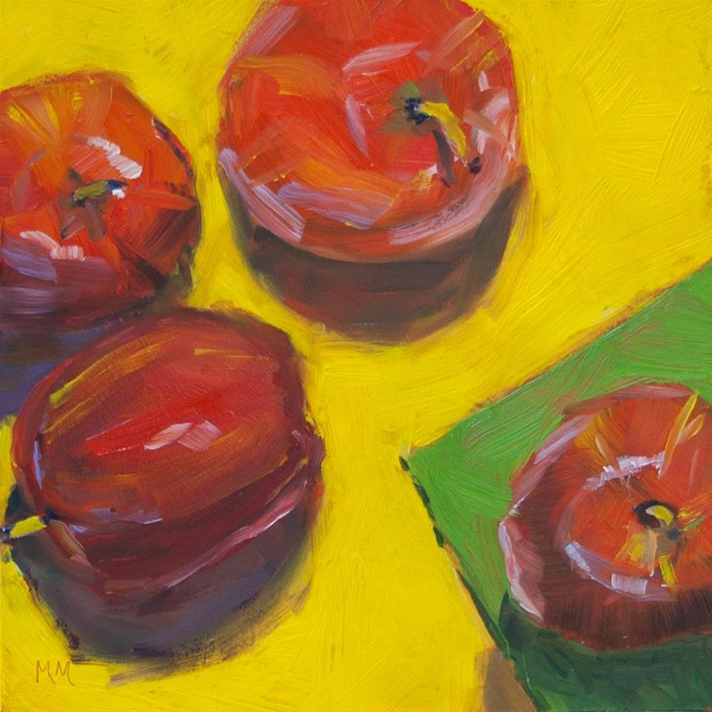 """Apples on Yellow"" original fine art by Maria McNitt"