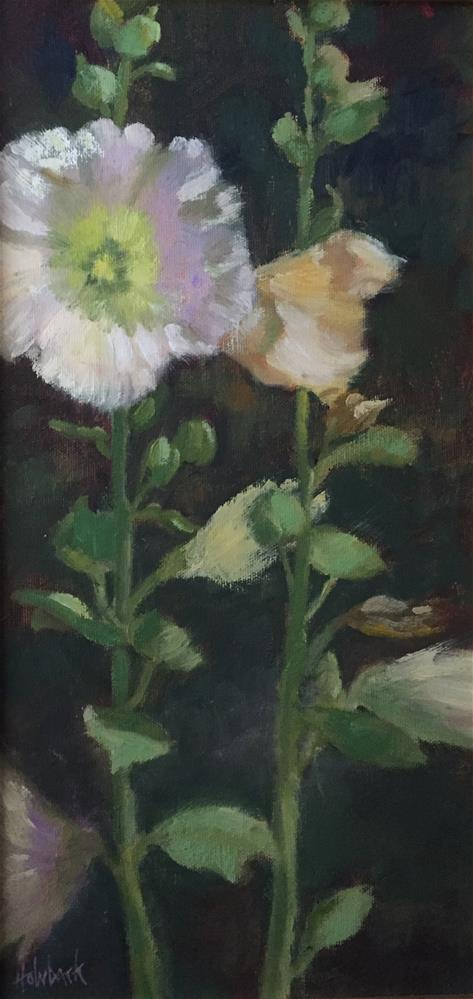 """Hollyhock Spires"" original fine art by Pam Holnback"