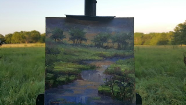 """Fading Light at the Creek"" original fine art by Tammie Dickerson"
