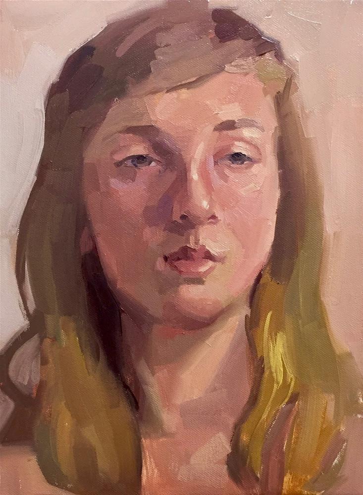 """""""Limited Palette Portrait Painting"""" original fine art by Sarah Sedwick"""