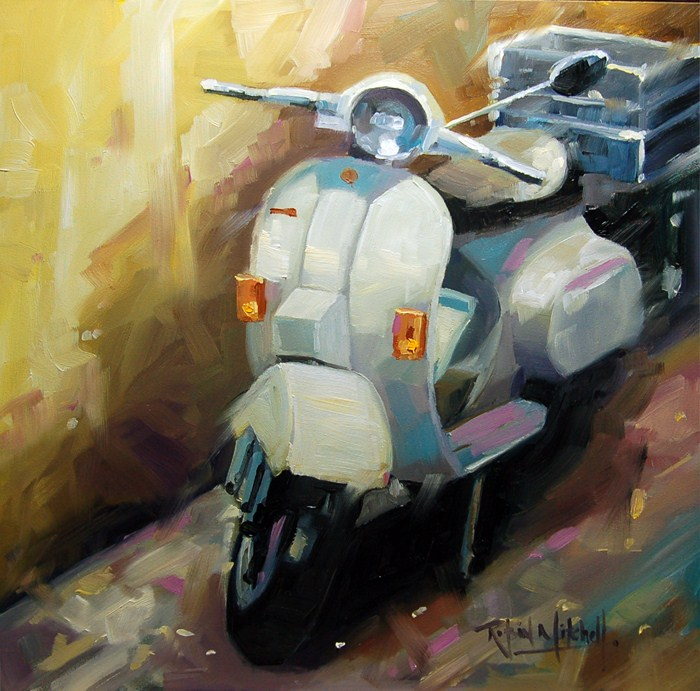 """No 496 The Bike"" original fine art by Robin J Mitchell"