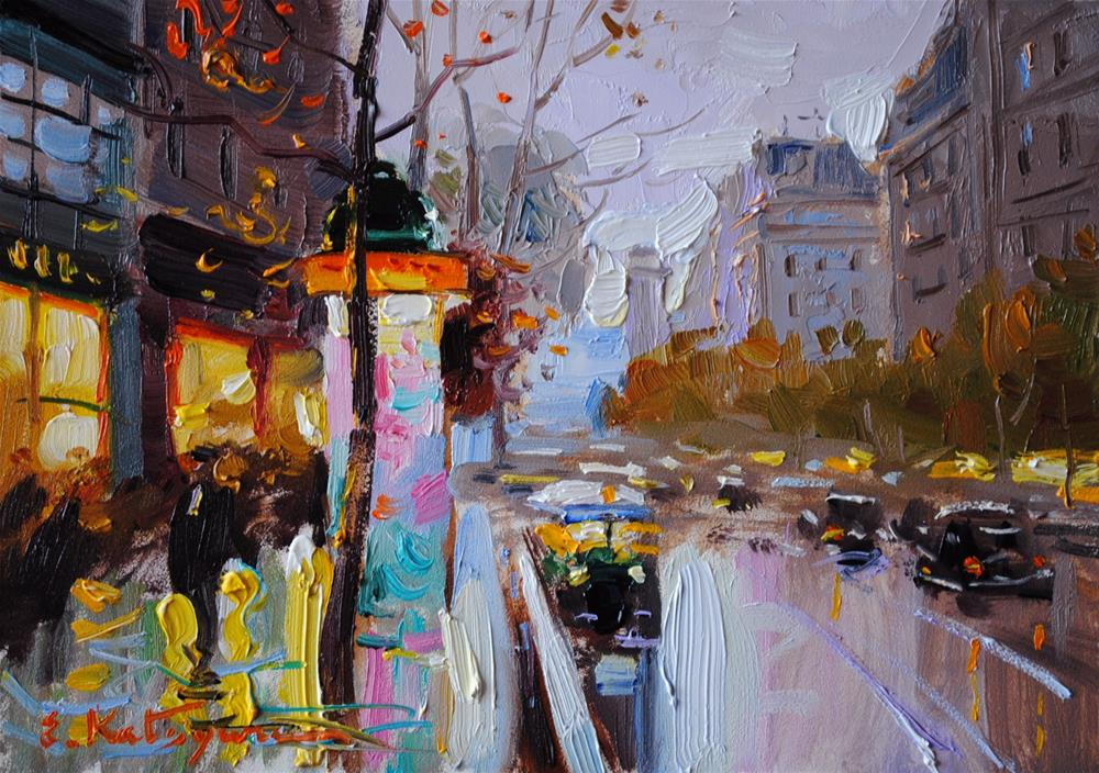 """Rainy Sidewalk"" original fine art by Elena Katsyura"