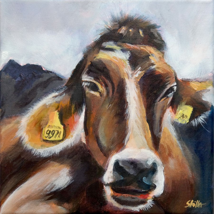 """1874 Cozy Cow"" original fine art by Dietmar Stiller"