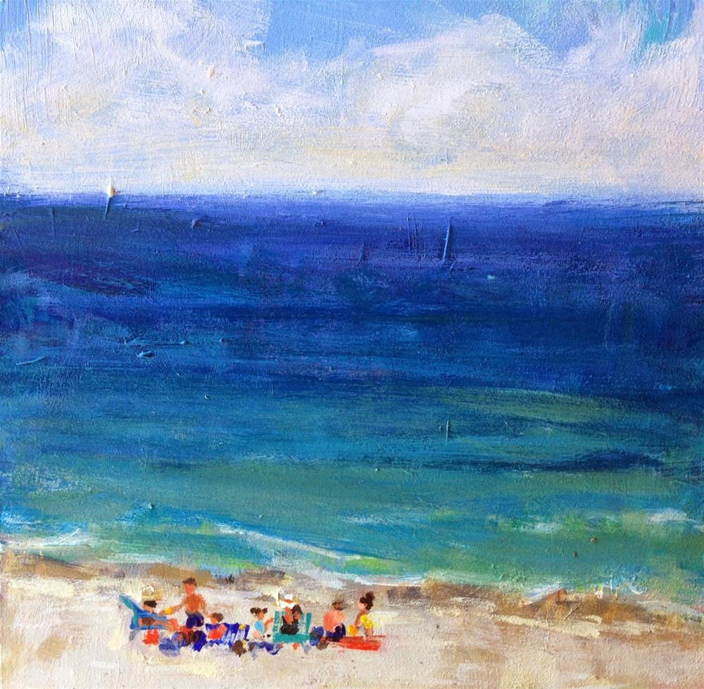 """Beach Party, 6x6 Inch Acrylic Painting by Kelley MacDonald"" original fine art by Kelley MacDonald"