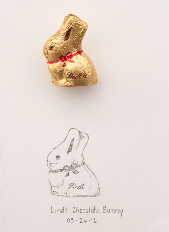 """Happy Easter & Daily Sketch: Lindt Bunny"" original fine art by Debbie Lamey-Macdonald"