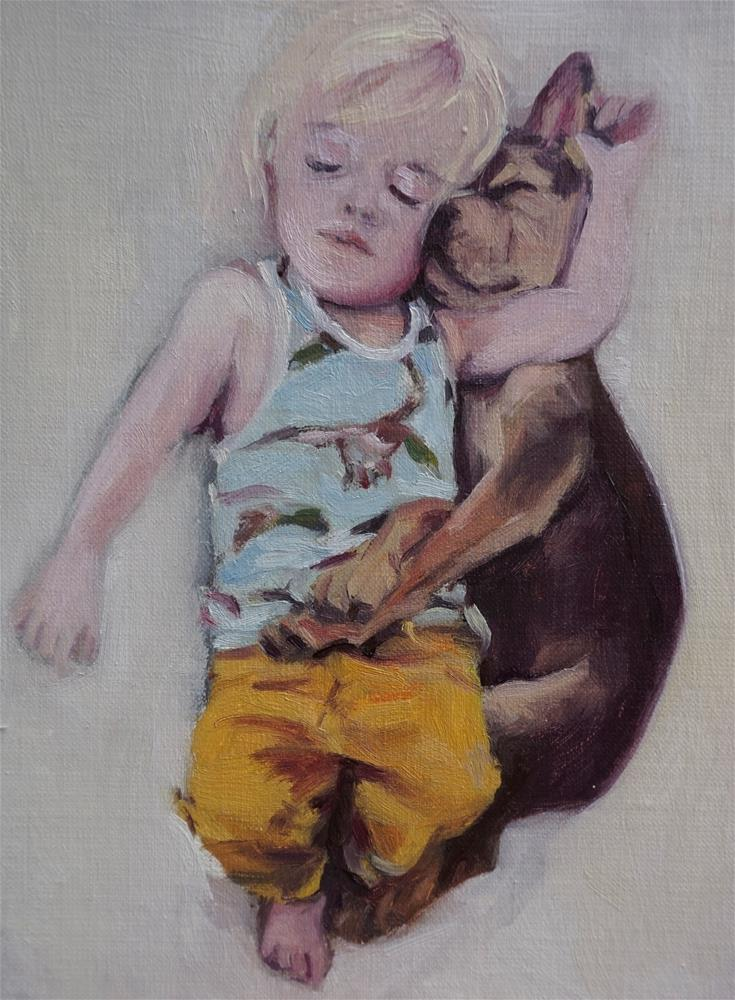 """Boy and puppy taking a nap"" original fine art by Jeroen van der Velden"