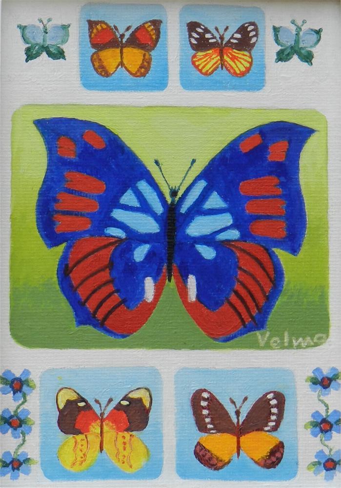 """Butterfly Group 1"" original fine art by Velma Davies"