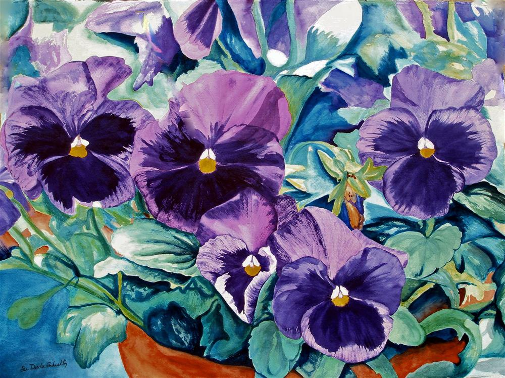 """Playful Purple Pansy's"" original fine art by Susan Duda"