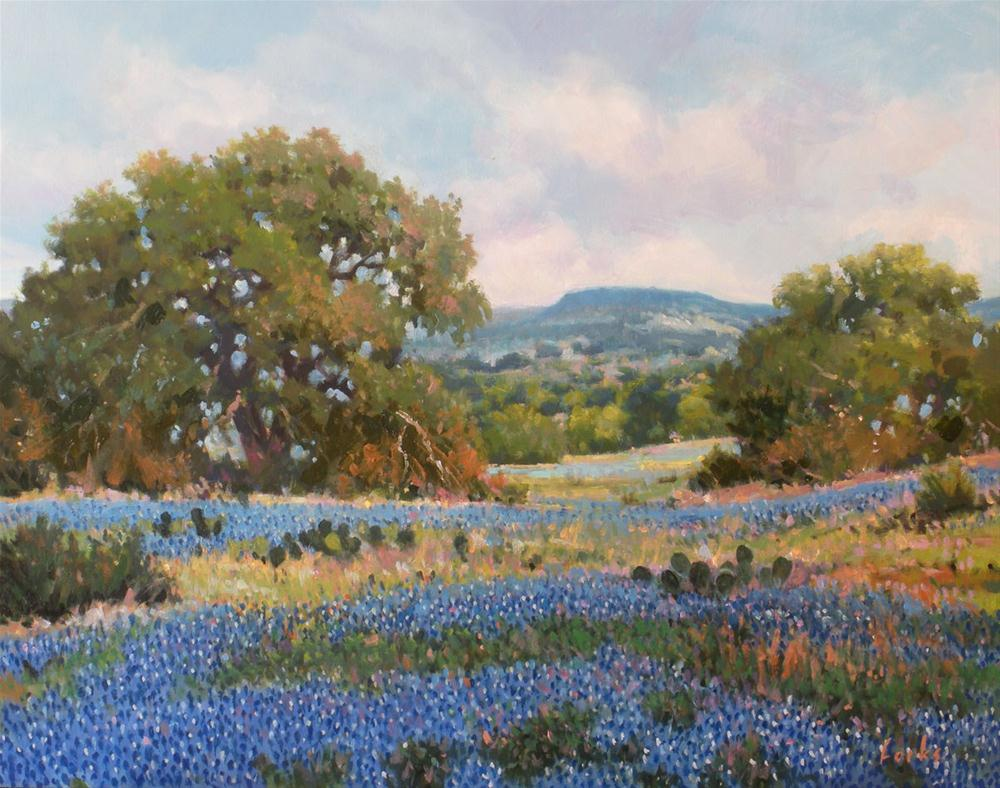"""Bluebonnets"" original fine art by David Forks"