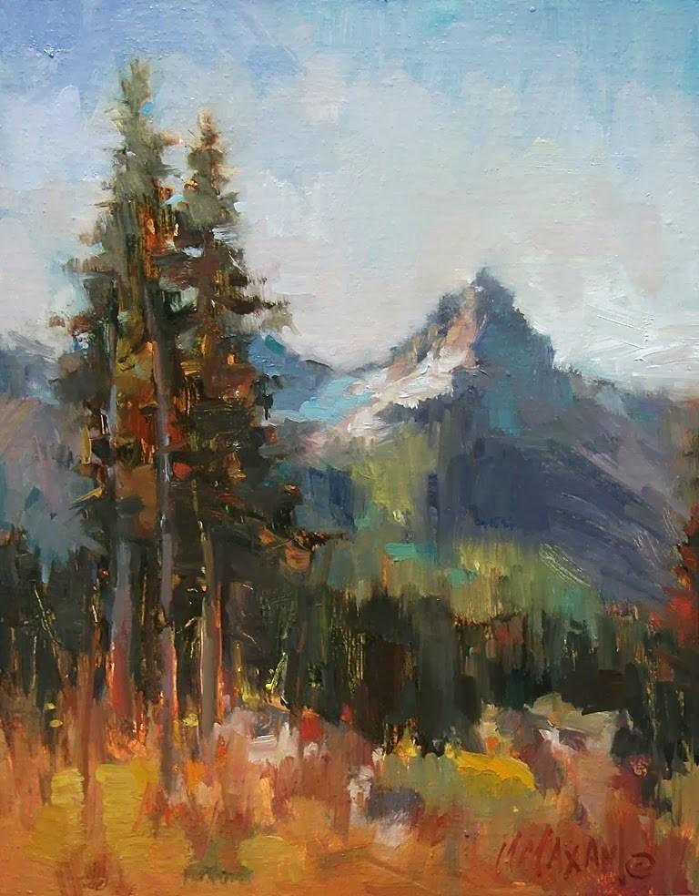 """Ranier Park View, Little Tahoma"" original fine art by Mary Maxam"