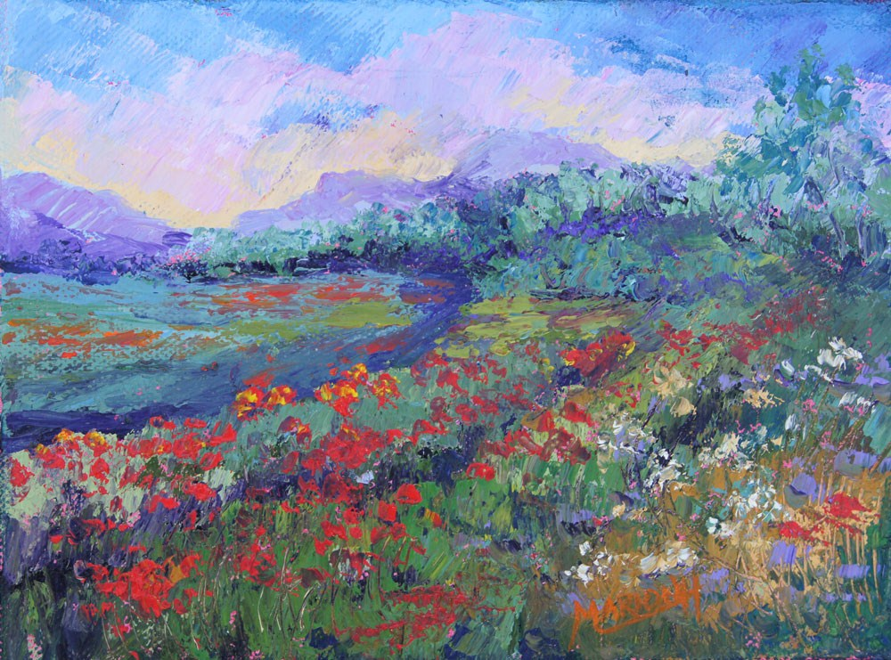 """Poppy Meadows Provence #2, oil knife painting"" original fine art by Marion Hedger"