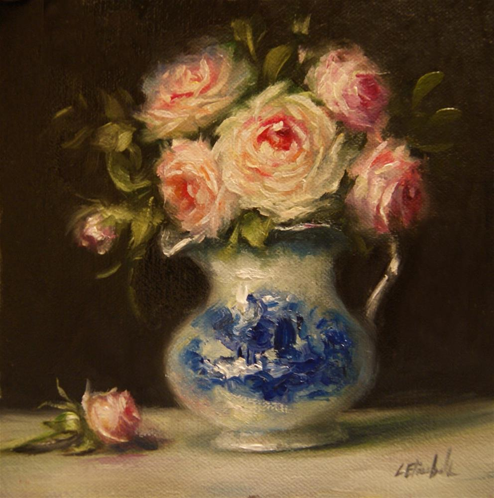 """Pink Roses in Flow Blue,  Oil on 6x6 Linen Panel"" original fine art by Carolina Elizabeth"