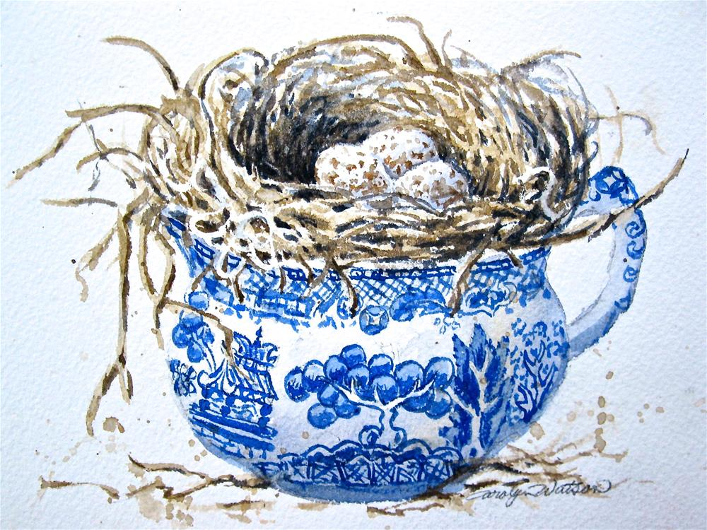 """Nesting in Blue Willow"" original fine art by carolyn watson"