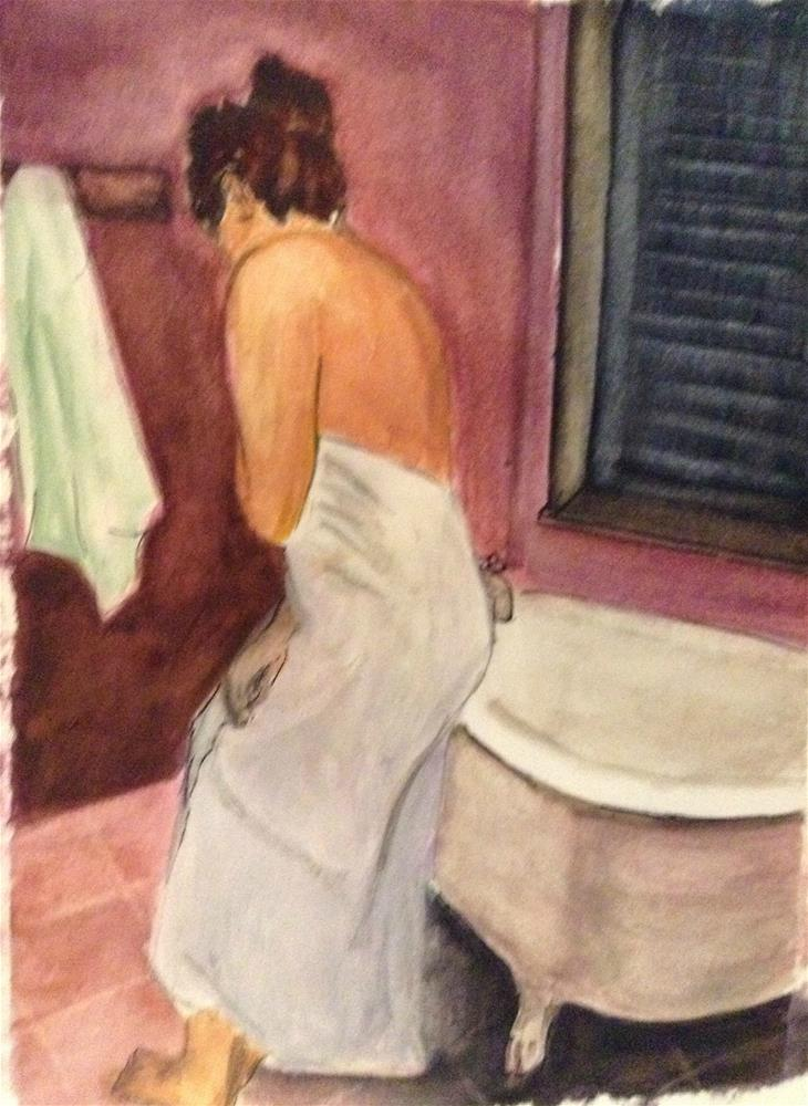 """The Bath  watercolor 8 x 6"" original fine art by Nancy Beard"