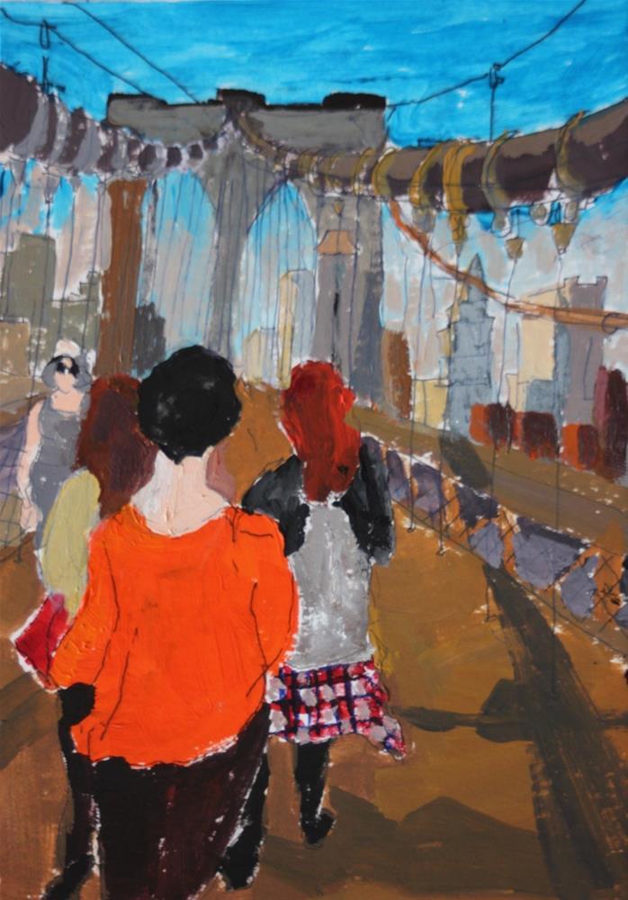 """Walking the Brooklyn Bridge"" original fine art by Christine Parker"