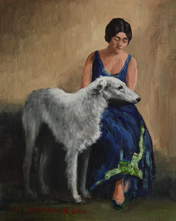 """Borzoi and Lady in a Blue Dress"" original fine art by Sue Deutscher"