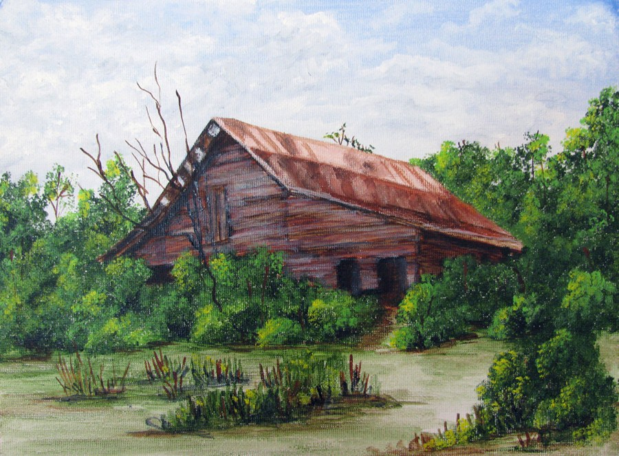 """The Barn"" original fine art by Nan Johnson"
