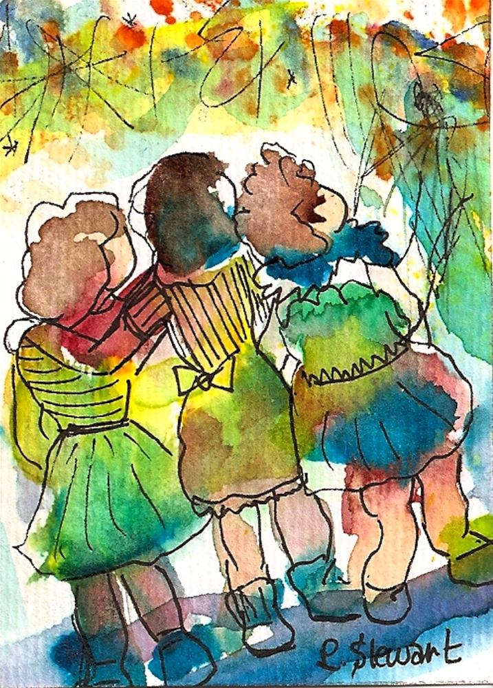 """ACEO Kids Watching the Fireworks"" original fine art by Penny Lee StewArt"