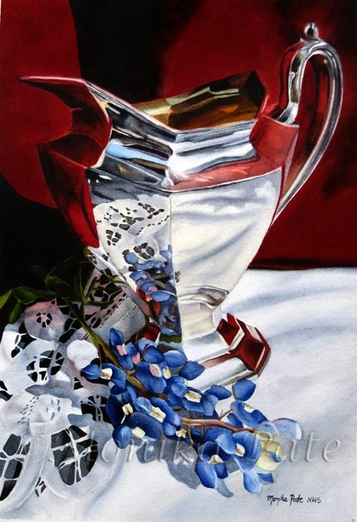 """Bluebonnet and Silver"" original fine art by Monika Pate"