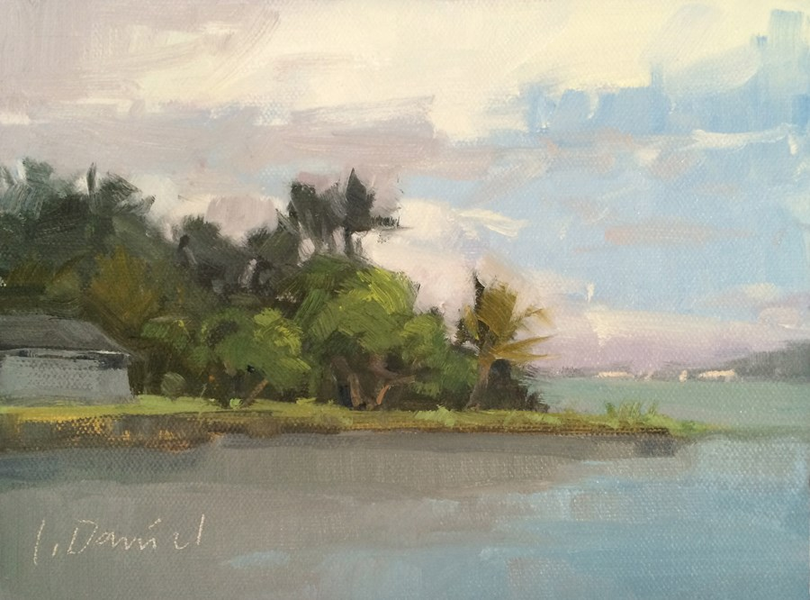 """Bay View - Postcard from Hawaii"" original fine art by Laurel Daniel"