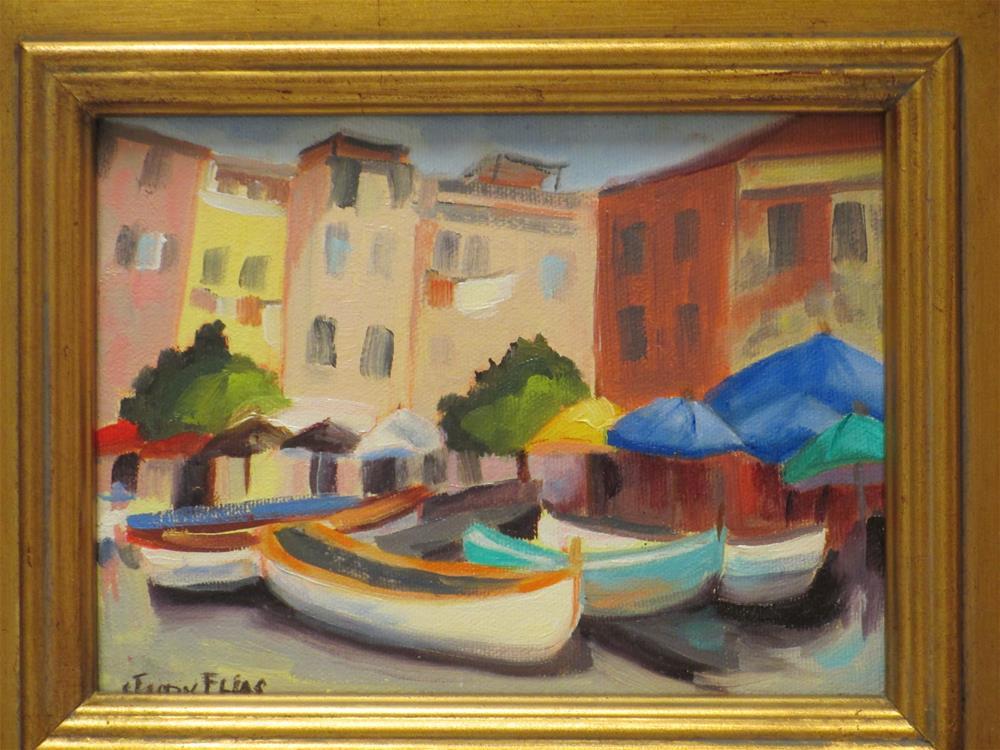 """Cinque Terre Boats in the Square"" original fine art by Judy Elias"