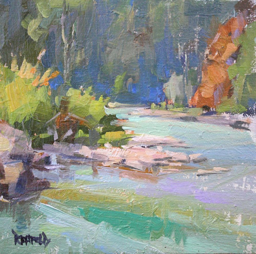 """""""Meandering Hood River"""" original fine art by Cathleen Rehfeld"""
