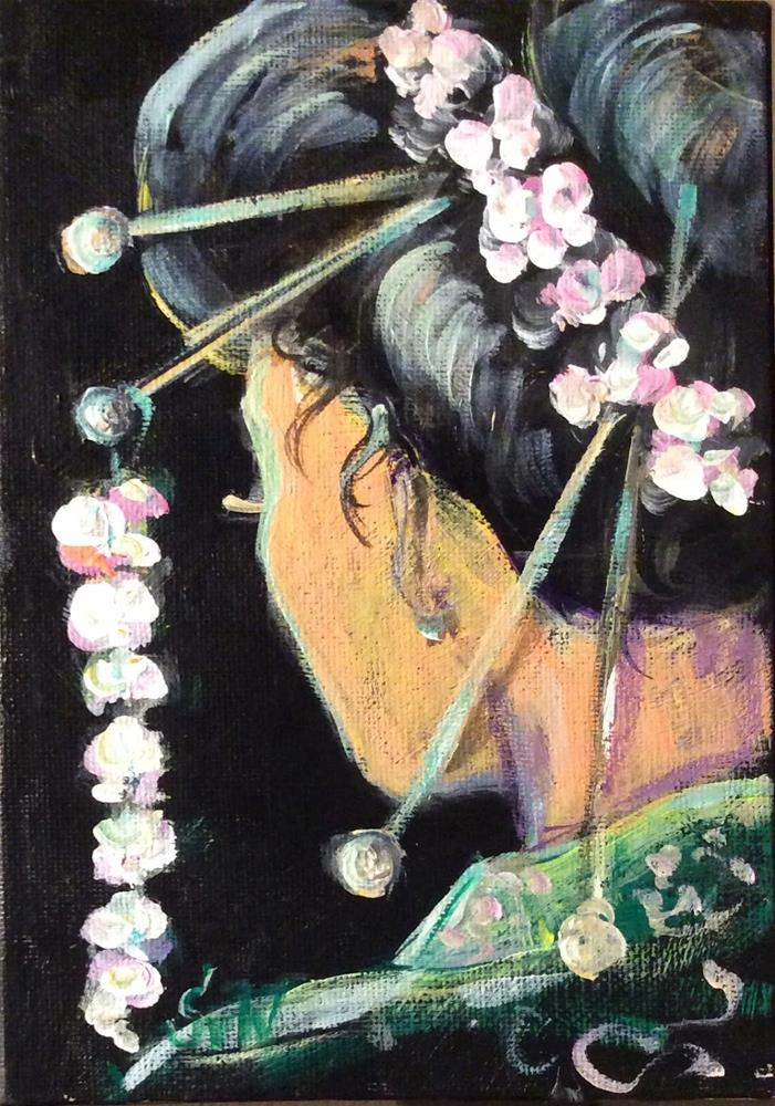 """Geisha girl in green kimono"" original fine art by Sonia von Walter"