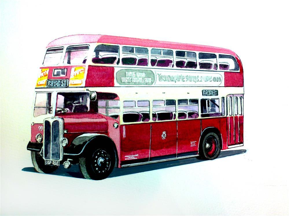 """1950's AEC Regent 111  Reading Corporation Transport Bus"" original fine art by John Monney"