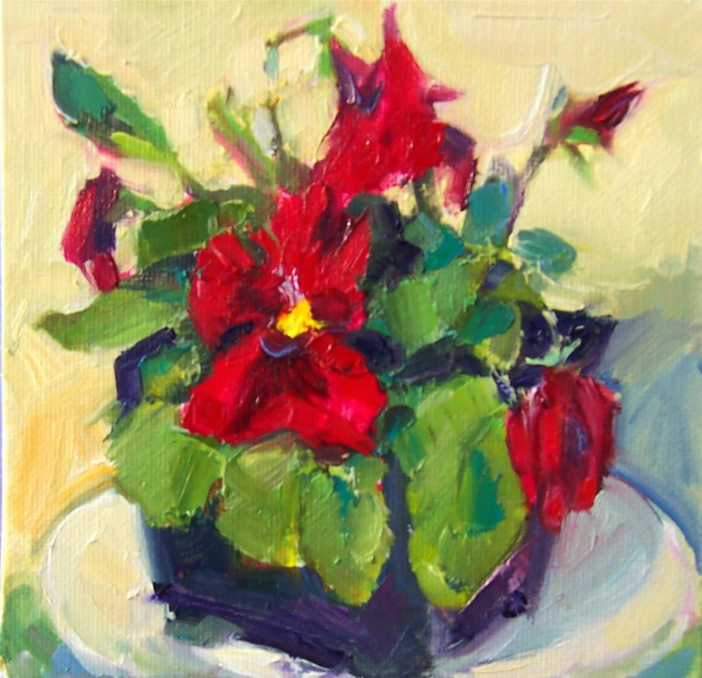 """Red Pansy,still life,oil on canvas,6x6,price$200"" original fine art by Joy Olney"