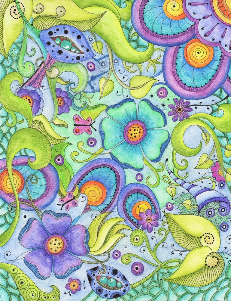 """Flower Menagerie"" original fine art by Susan Bertocci"