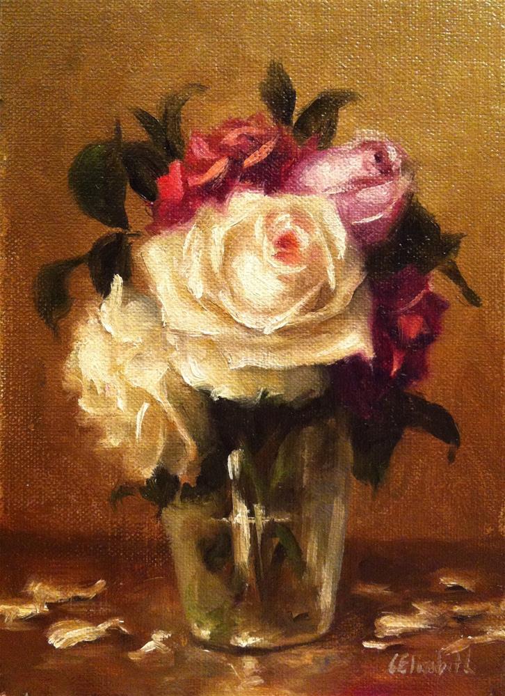 """Roses in Glass Vase and Petals,  Oil on 5x7 Linen Panel"" original fine art by Carolina Elizabeth"