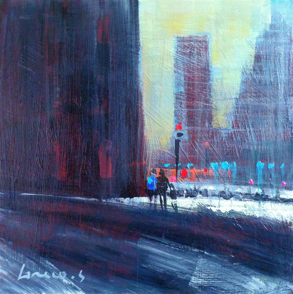 """Snow city new york"" original fine art by salvatore greco"