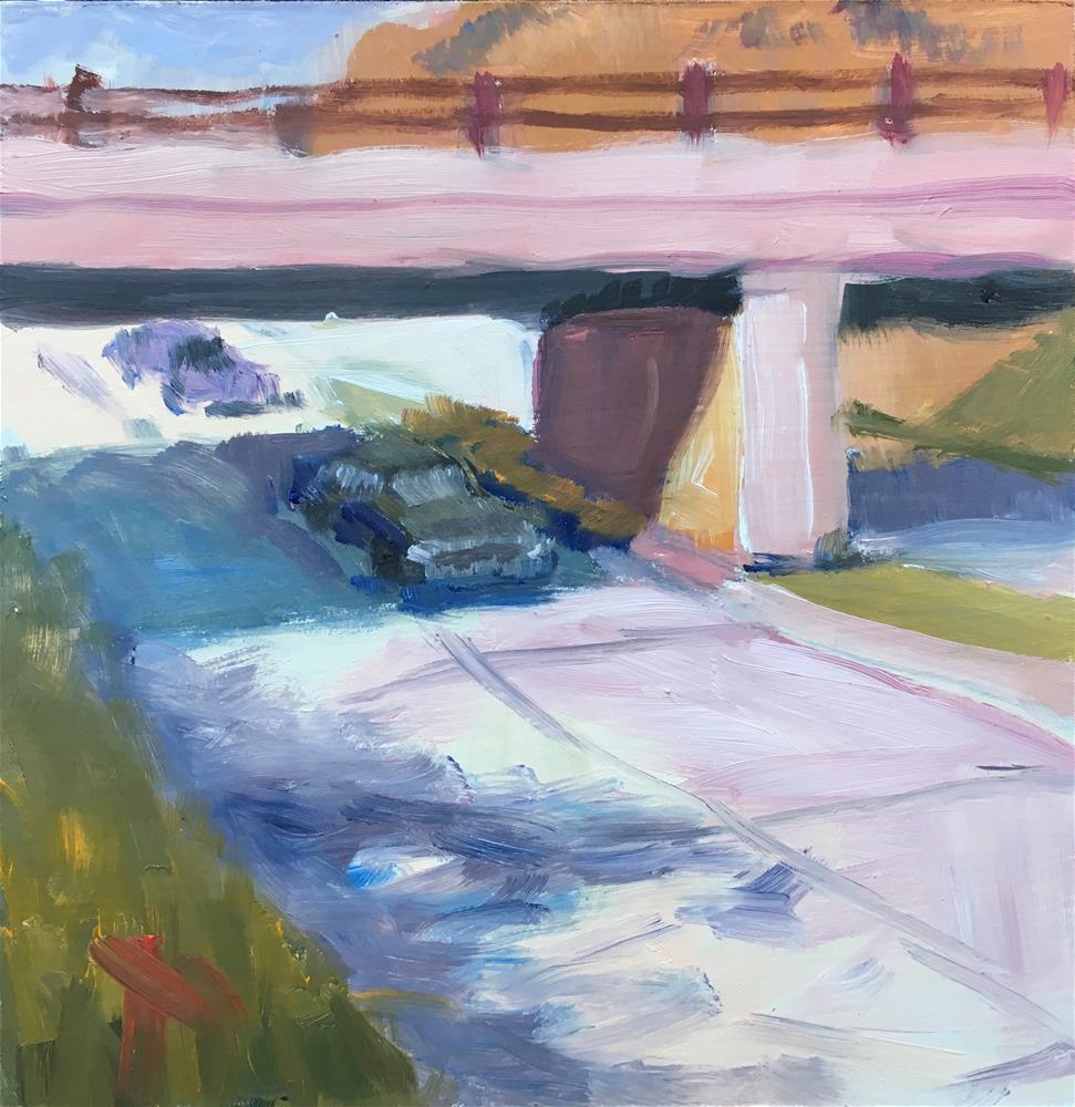 """081 Suburban Train Bridge painting.  "" original fine art by Fred Bell"