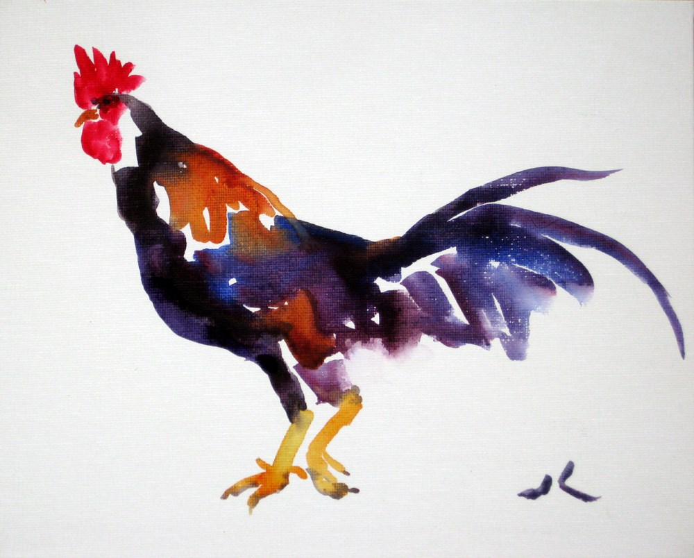 """Rooster"" original fine art by Julia Lu"