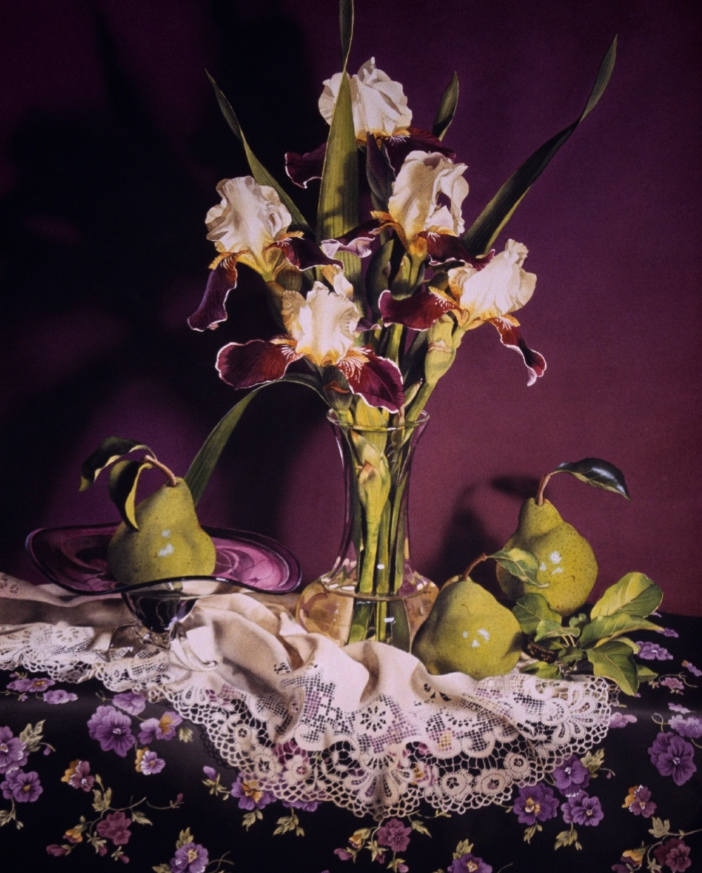 """Still Life with Irises & Pears"" original fine art by Jacqueline Gnott, whs"