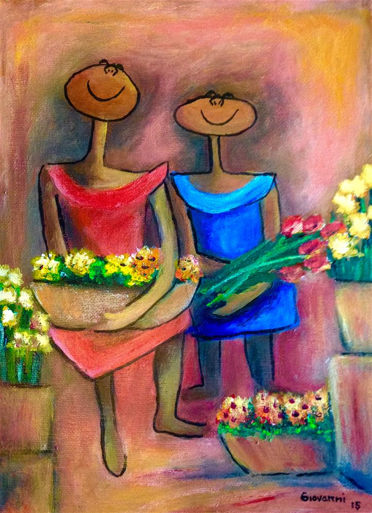 """Two sisters selling flowers"" original fine art by Giovanni Antunez"