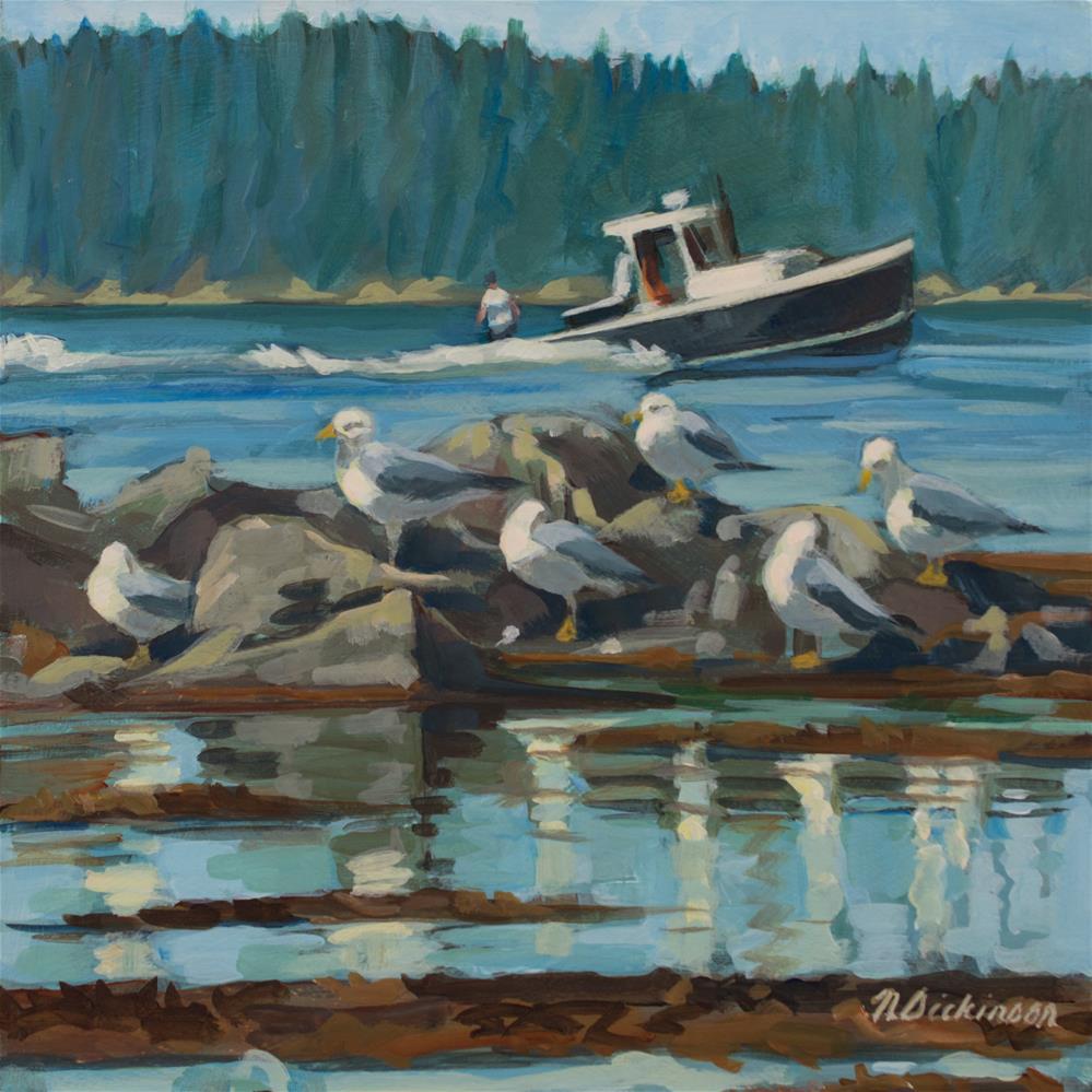 """""""Gulls"""" original fine art by Nat Dickinson"""