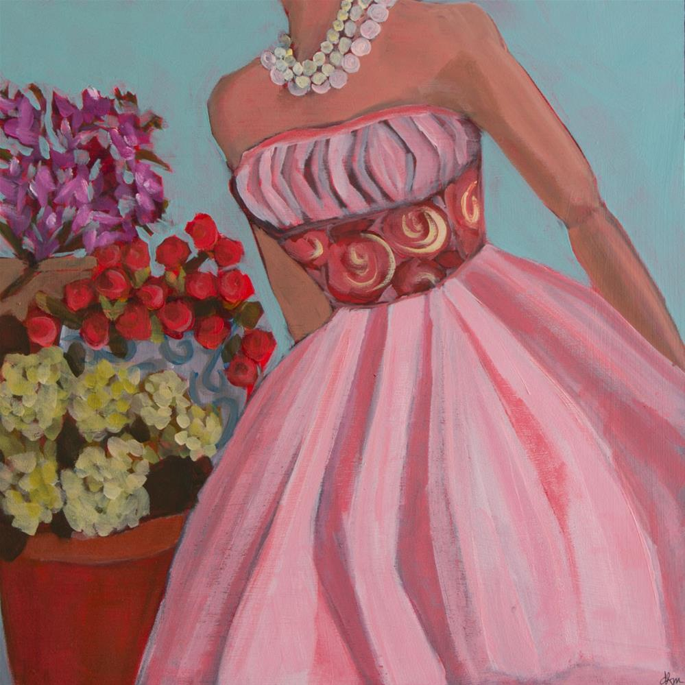 """""""Stopping to Smell the Roses (#418)"""" original fine art by Debbie Miller"""