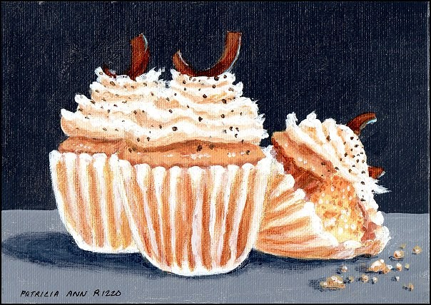 """Whipped Cream and Chocolate Chip Cupcakes"" original fine art by Patricia Ann Rizzo"