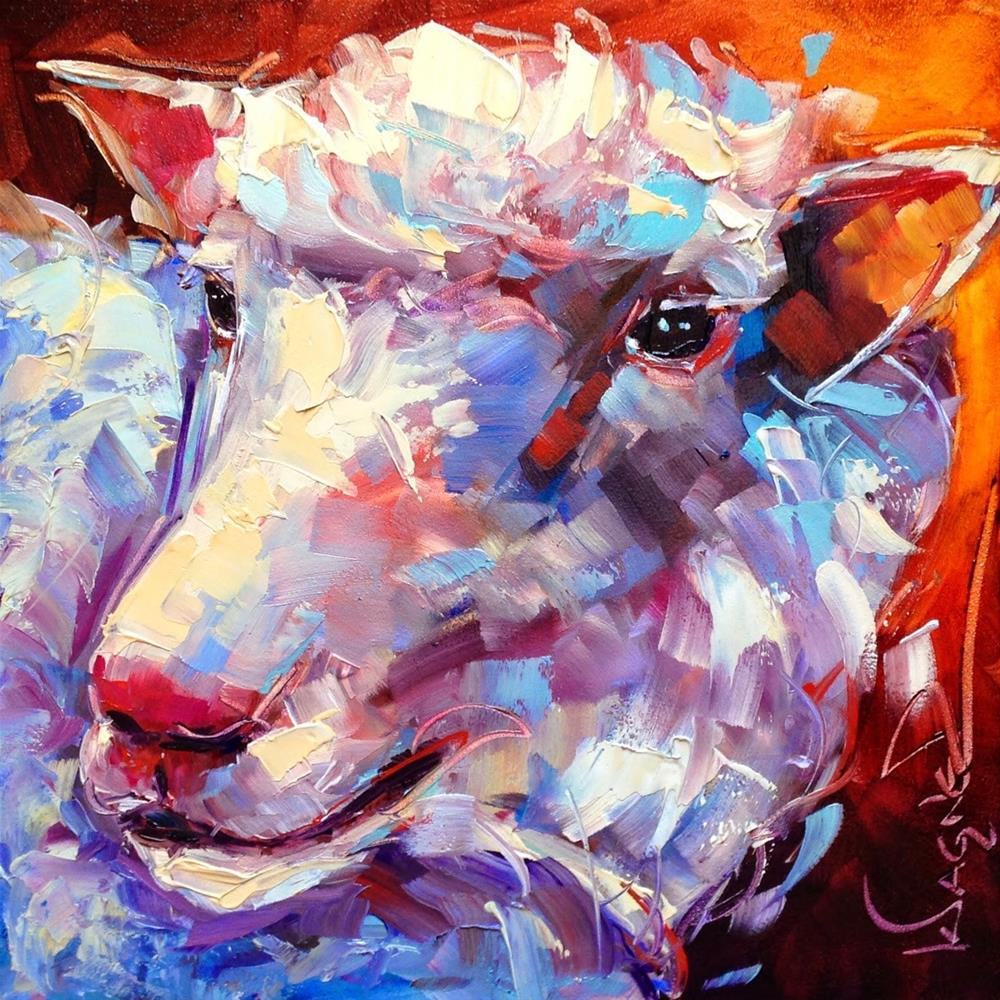 """""""CONTEMPORARY SHEEP ANIMAL PAINTING in OILS by OLGA WAGNER"""" original fine art by Olga Wagner"""
