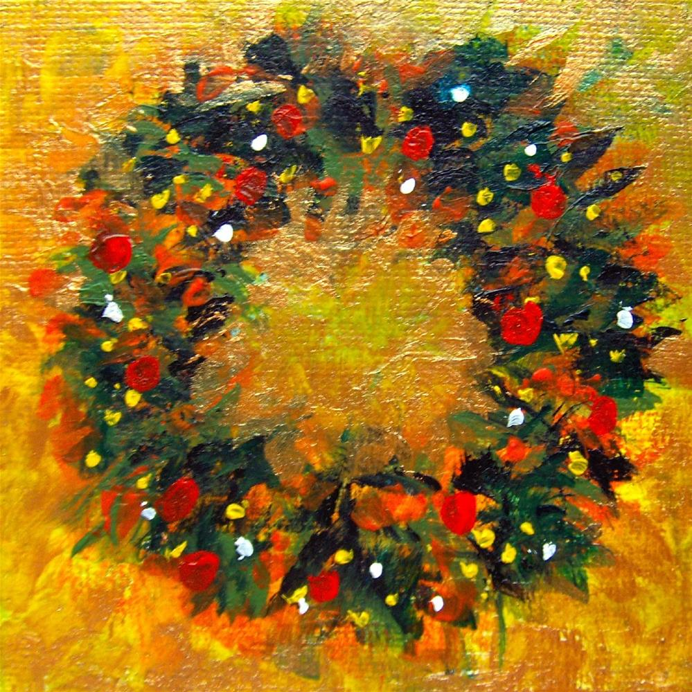 """3259 - Golden Wreath - Fine Art Ornament"" original fine art by Sea Dean"