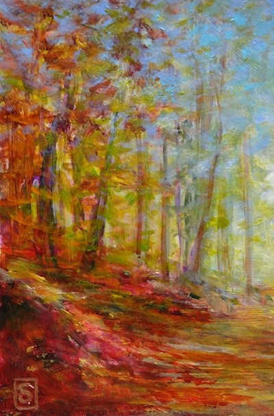 """3226-3 - Matted - Forest Walk III"" original fine art by Sea Dean"